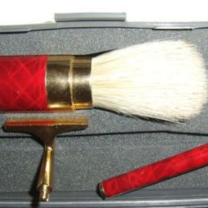 Other - Shaving Gold & Red Gray Case Mirror Kit Set